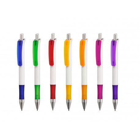 Stylo personnalisable Festo corps blanc, clip coloré